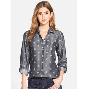 Foxcroft Tops - Nordstrom Foxcroft Polka Dot Gray Button Down